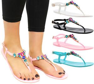 942dffaa1da10a Ladies Beach Summer Sliders Diamante Jelly Flip Flop Sandals Womens ...