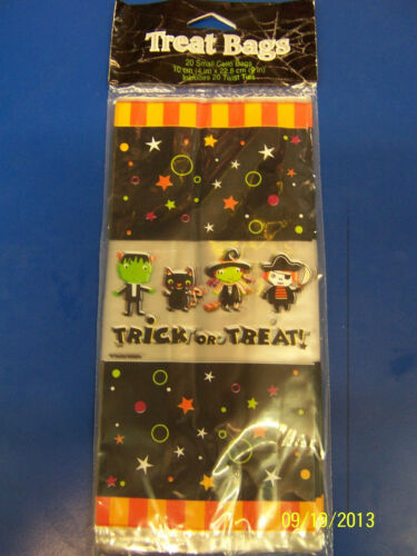 Tiny Terrors Trick or Treat Halloween Holiday Party Favor Bags Small Cello Sacks
