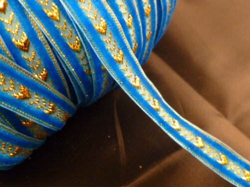 17 Colours 10mm Quality Velvet Designer Ribbon with Gold Available in 2m /& 5m