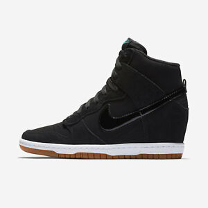 Nike Women s Dunk Sky Hi Essential Wedge Heel Shoes Sizes Black Gum ... 2144c414c