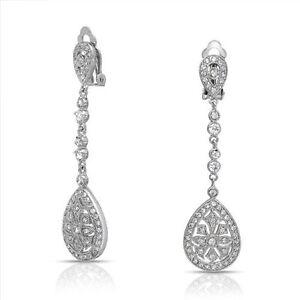 Ada-Vintage-Art-Deco-Bridal-Formal-Silver-Clip-on-Long-Crystal-Earrings-Wedding