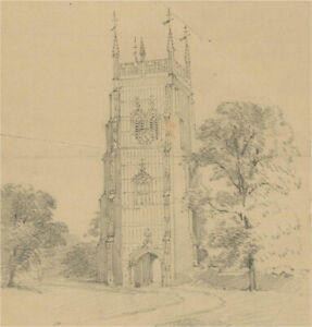 Early 20th Century Graphite Drawing - Graphite Study of Churches