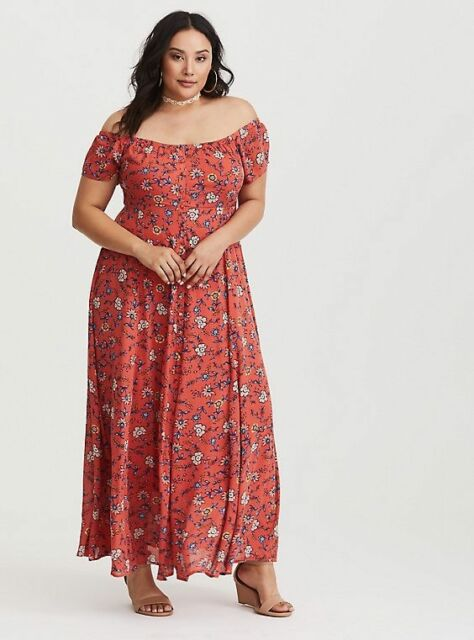771203f7f1e TORRID Orange Floral Off Shoulder Gauze Maxi Dress size 4