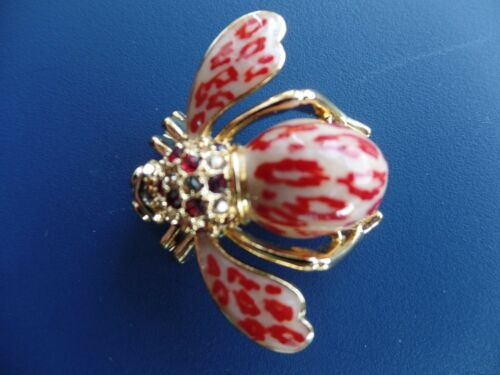 Joan Rivers Bee Tan And Red Colored Epoxy Enamel