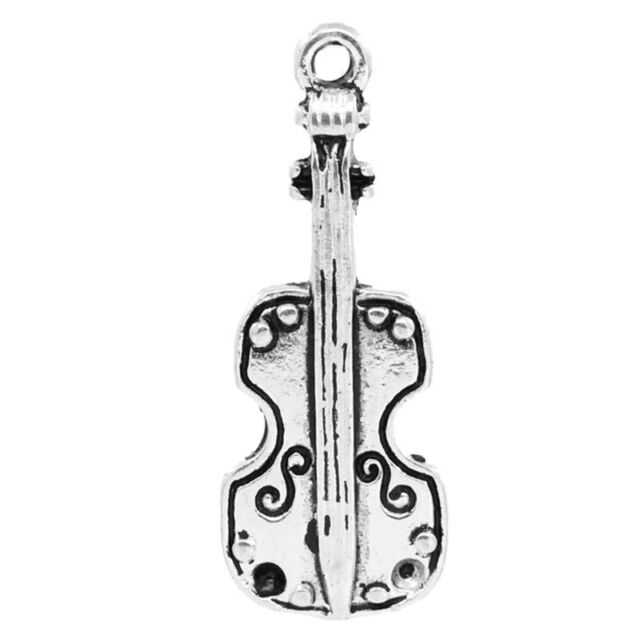 20 Antik Silber Geige Form Charm Anhänger 28mm x 11mm B26444
