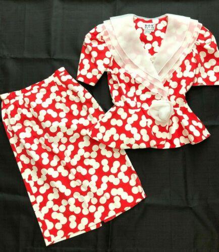 Vtg 80s Red Polka Dot Skirt Suit 4 Peplum Jacket P
