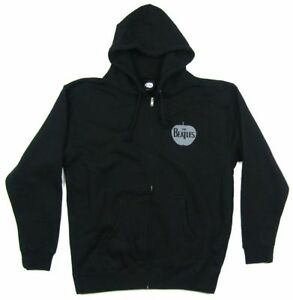 Beatles-Apple-Pocket-Logo-Black-Zip-Up-Sweatshirt-Hoodie-New-Official-Merch