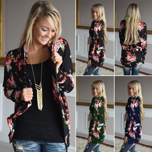 Womens Floral Cardigan Kimono Autumn Long Sleeve Casual Coat Outwear Blouse Top