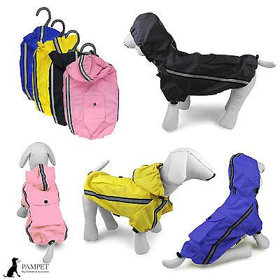 Dog Coat - PAMPET REFLECTIVE RAIN COAT - Pink Black Blue or Yellow -FREE UK P&P!