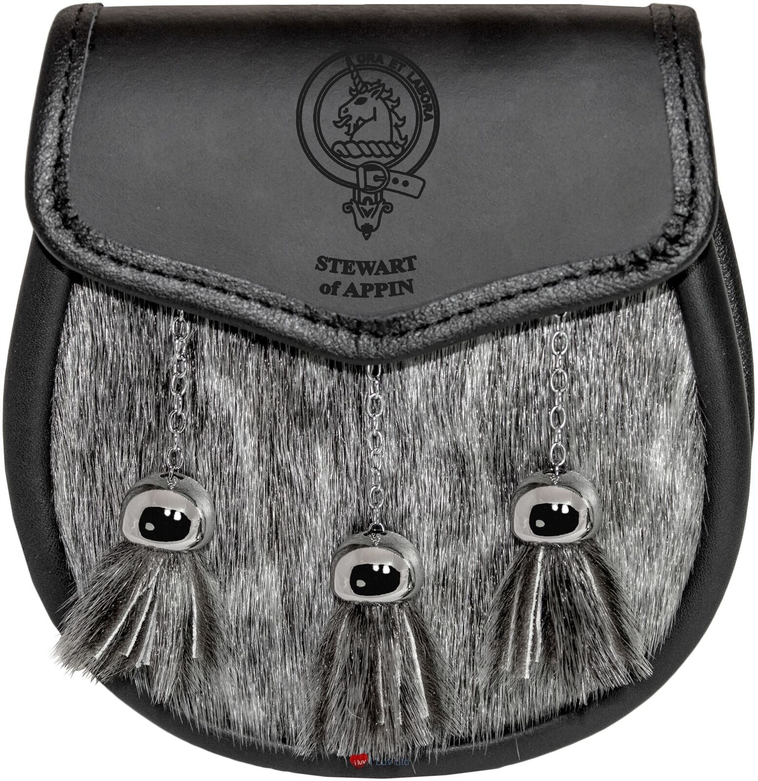 Stewart of Appin Sporran Fur Plain Leather Flap Scottish Clan Crest