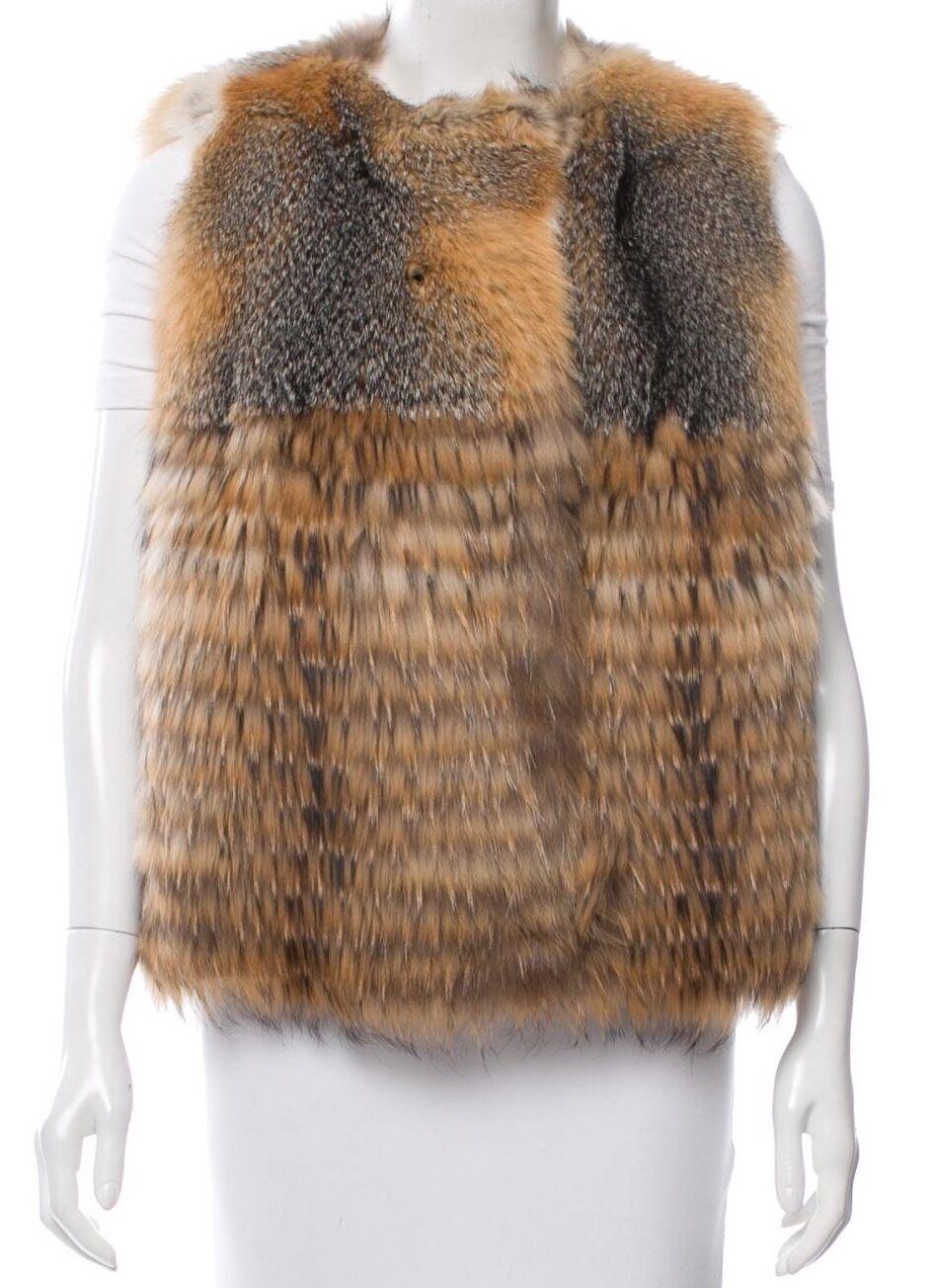 Meteo x Yves Salomon Fox and Raccoon Fur Vest SZ 34 = Fits US S - NWOT RT  2.5K
