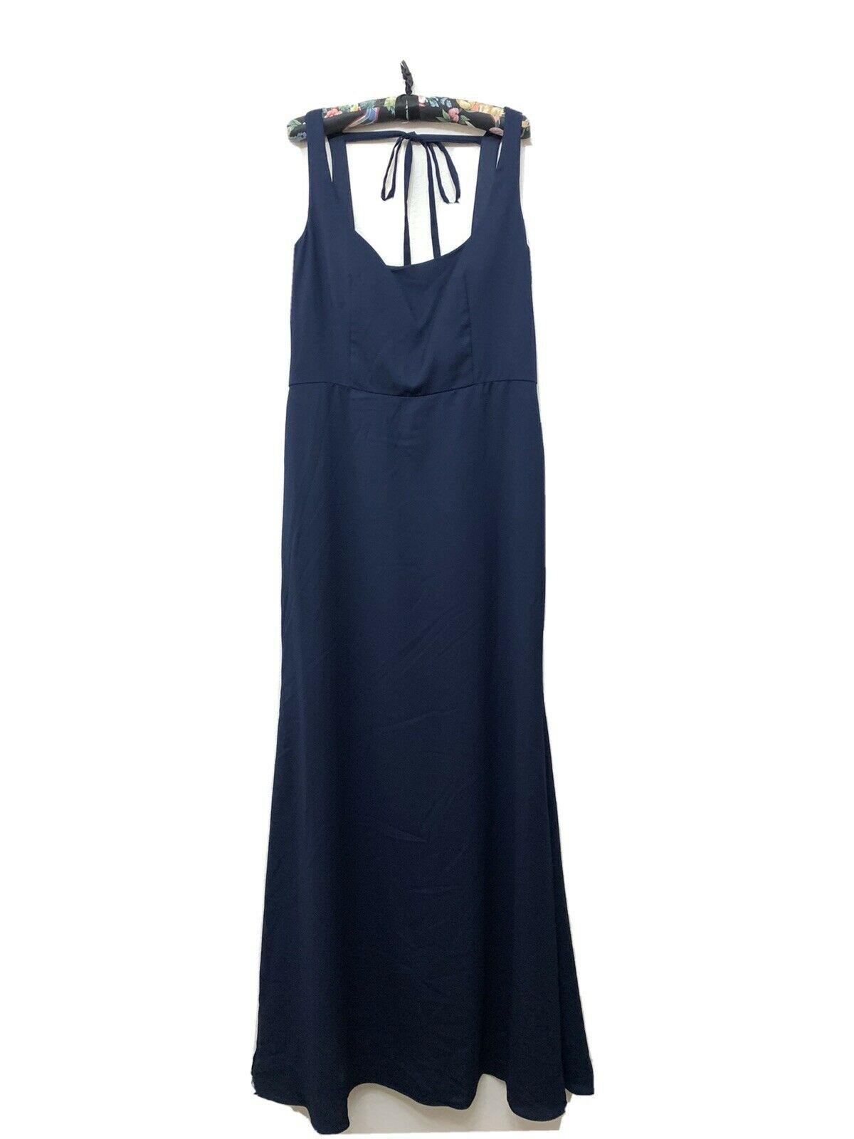 Occasions Hayley Paige Crepe Fit Flare Navy Blue Prom Bridesmaid Dress Sz 16 NEW