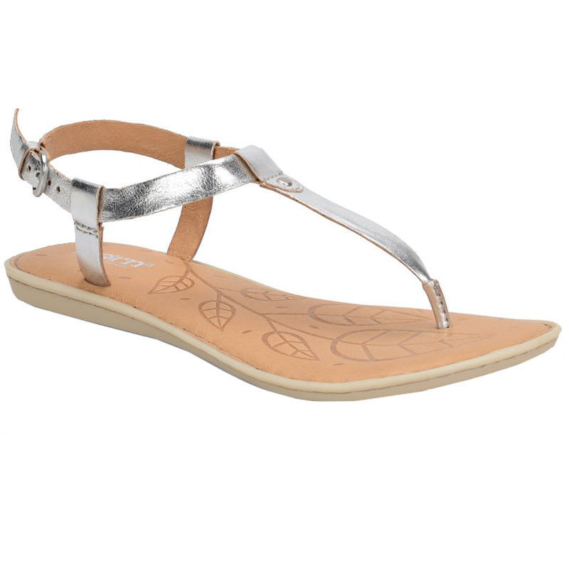 New Born Lo Argento Silver Metallic 7 T-Strap Leder Sandale F02515 Sz 7 Metallic New w Box 193ee9