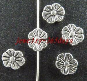 40pcs-Tibetan-Silver-Flower-Shaped-Spacer-Beads-9x7mm-10884