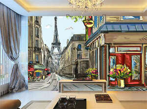 Image Is Loading Painting Paris Street Full Wall Mural Photo Wallpaper