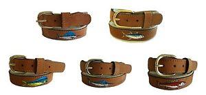 Mens Embroidered Leather Canvas Ribbon Belt Mahi Sailfish Marlin select size