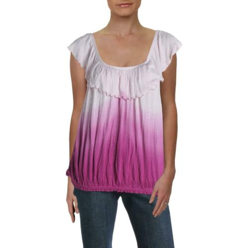 Free People Womens Cora Lee Ombre Ruffled Tee Tank Top Shirt BHFO 3560