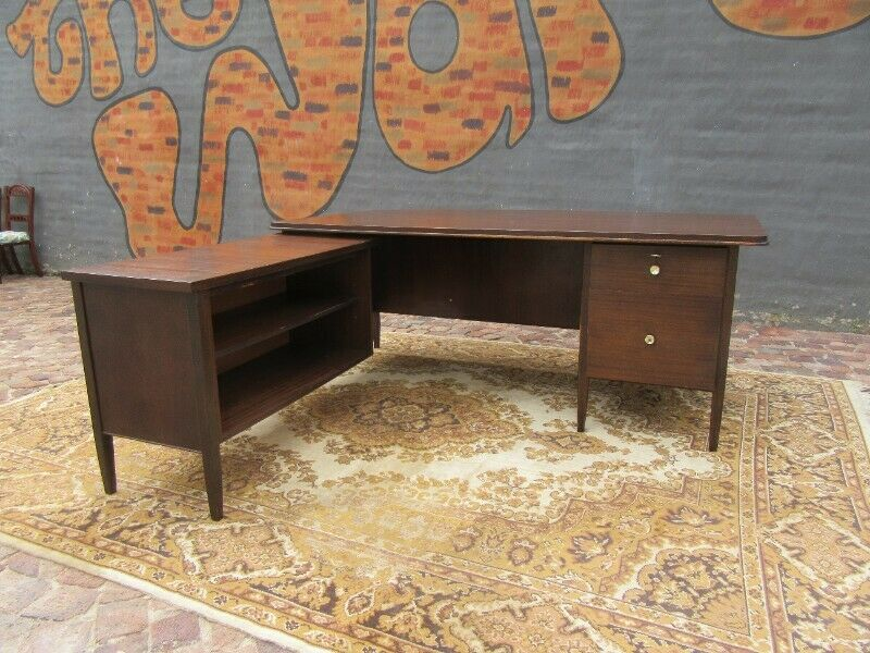 Mid-Century Large Executive Desk with a Credenza attached