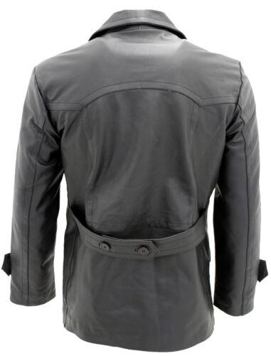 Men/'s Black German Naval Dr Who Cow Hide Leather Pea Coat