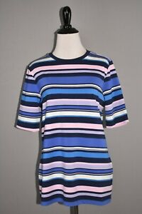 ISAAC-MIZRAHI-LIVE-NEW-49-Crew-Neck-Elbow-Sleeve-Stripe-Printed-Knit-Top-Small