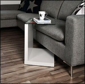 Coffee Small Side End Table Glass Top White High Gloss