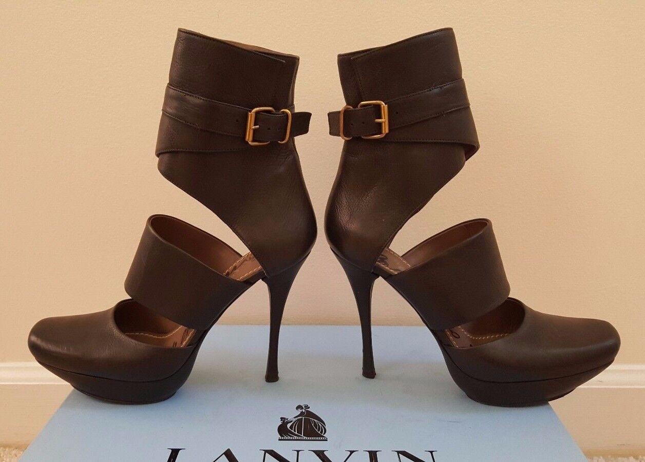 prezzo all'ingrosso e qualità affidabile RARE Lanvin Cutout Platform Pebbled Leather High Heeled stivali, stivali, stivali, nero Dimensione 7  vendita economica