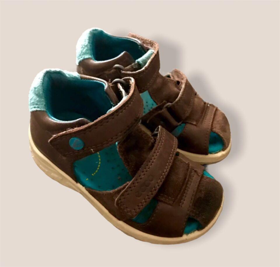 Sandaler, str. 22, Ecco brune sandaler sko ruskind skind 22