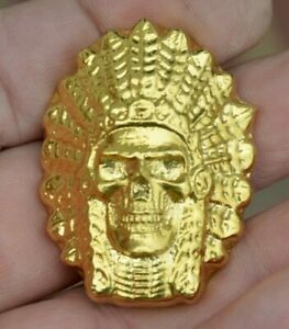 Petrobond-Delft-Clay-Push-Silver-Bar-Mold-Pattern-Large-Indian-Chief-Skull