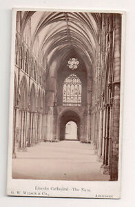 Vintage-CDV-The-Knave-Lincoln-Cathedral-England-G-W-Wilson-Ph-Aberdeen