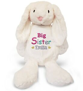 personalised big sister your name large bunny rabbit embroidered