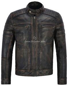 Maenner-Leder-italienische-Vintage-schwarz-mutige-Aktion-Retro-Bikerjacke-1106