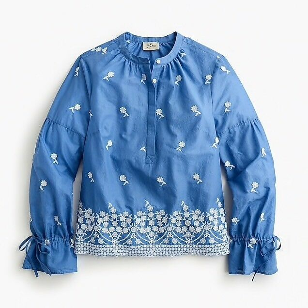 NWT     J.Crew Embroiderot Floral Popover Shirt Blouse Top Blau Größe S