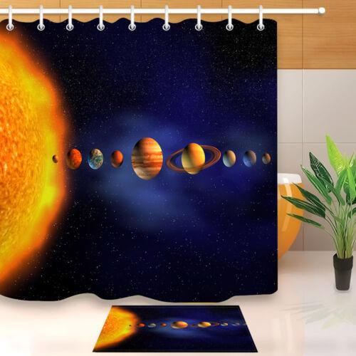"""60//72/"""" système solaire planète Tissu Imperméable Polyester Bain Rideau de douche Crochets"""