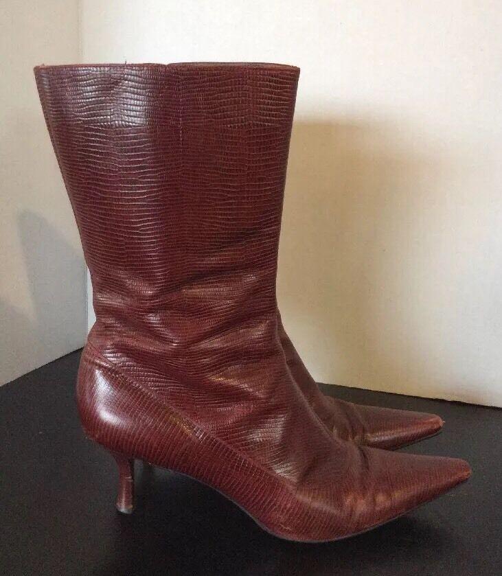 Cole Haan Snake Skin Leder Heel Stiefel Mid Calf Größe 9 B ROT/ Burgundy
