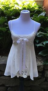 109dbc6a21 Details about Victoria s Secret Ivory Lace Tie Front Polyester Babydoll  Negligee Sz XS