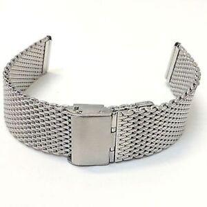 ds Cinturino Maglia Milano Universale Ricambio Orologio Largh 18mm Silver lac