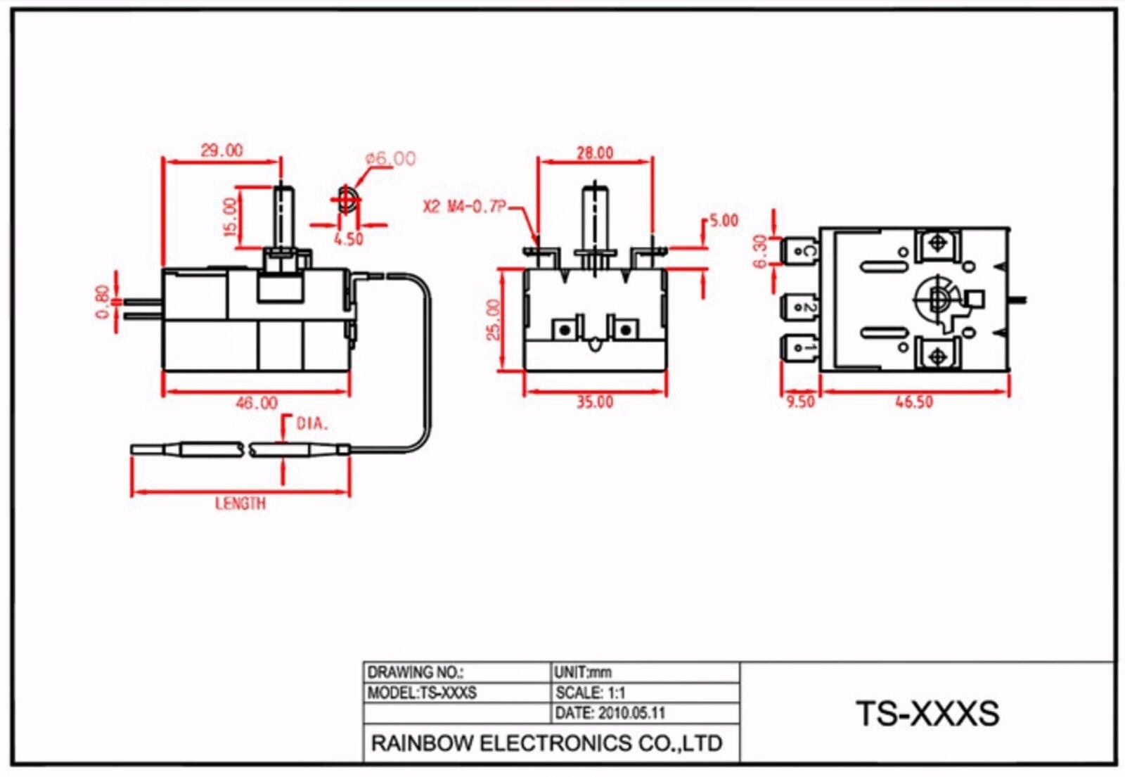 1pc Capillary Thermostat Temperature Control TS-050S 0~+50℃ 16A250VAC Rainbow