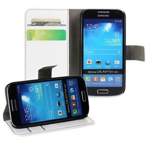 For-Samsung-Galaxy-S4-Mini-i9190-i9195-White-Genuine-Leather-Wallet-Case-Cover