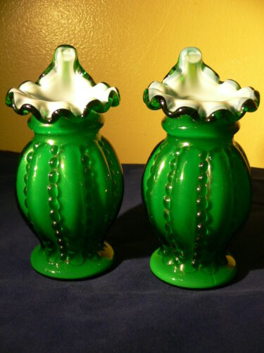 a pair of Fenton IVY OVERLAY BEADED MELON JACK IN THE PULPIT BUD VASE