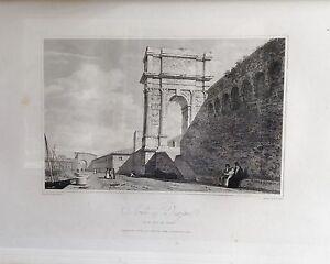 ITALIA-ANCONA-ARCH-OF-TRAJAN-GRABADO-ORIGINAL-DE-HAKEWILL-1820