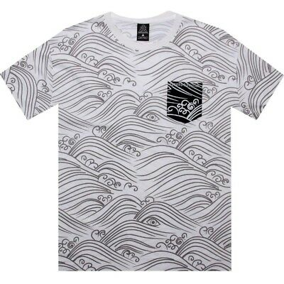 Activewear Activewear Tops Crooks And Castles Waves Men's White T Shirt Cc730715wht