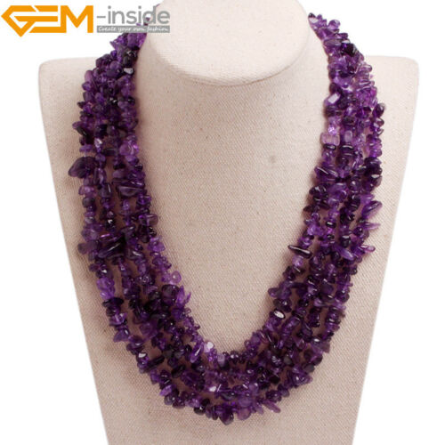 Handmade Multi-Strands Chips Cluster Statement Beaded Long Necklace 17-20 Inch U