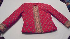 VERA BRADLEY INDIANA RED PAISLEY QUILTED COTTON JACKET WOMENS SMALL