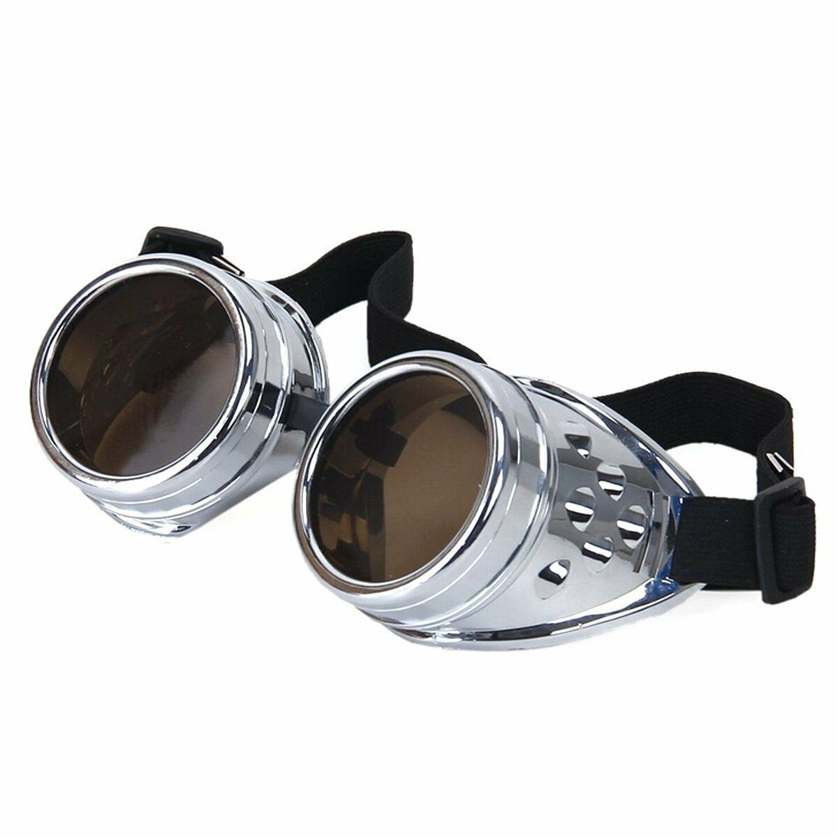 Steampunk Goggles Silver with Blue Lenses Cyber Vintage Retro Welding Glasses UK