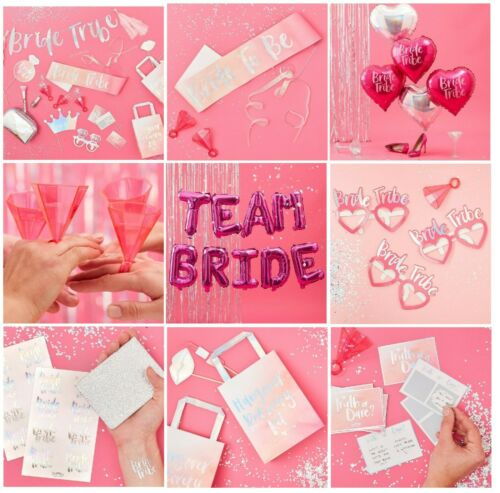 Bride Tribe GLASSES Bridal Shower Novelty Fun to Be Pink Iridescent Wedding Hen