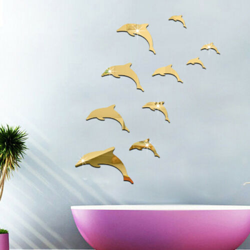 3D Dolphin Acrylic Mirror  Self-Adhesive DY Art Wall Stickers Decals Decor SA