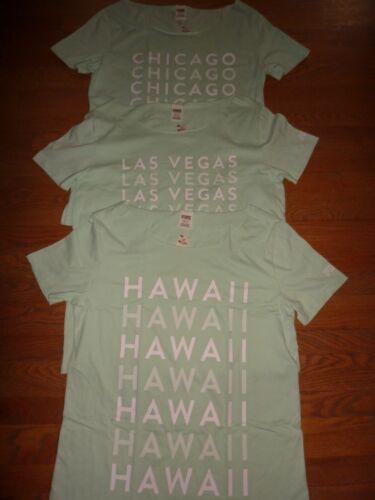 VICTORIAS SECRET PINK LAS VEGAS//HAWAII//CHICAGO//NEW YORK//LONDON RAW CT TSHIRT NWT