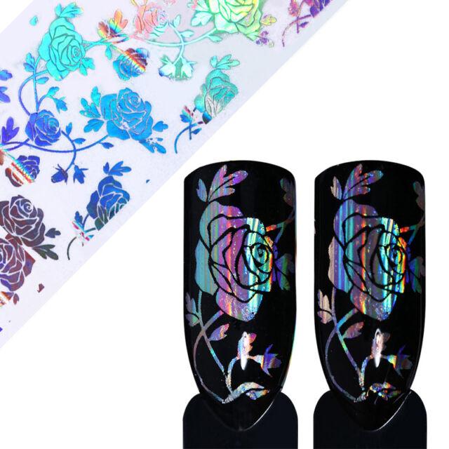 Holo Starry Nail Art Foil Rose Flower Lace Design Laser Nail Transfer Sticker