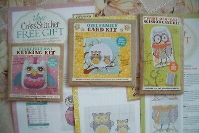 owl-cross-stitch-kits-joblot-bundle-card-keyring-scissor-case