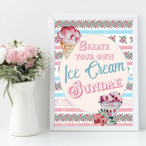 Wedding Sign Ice Cream Sundae Sign Retro Ice Cream Bar Sign Ice Cream Party
